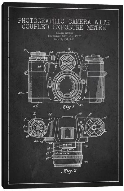 Camera Charcoal Patent Blueprint Canvas Print #ADP406