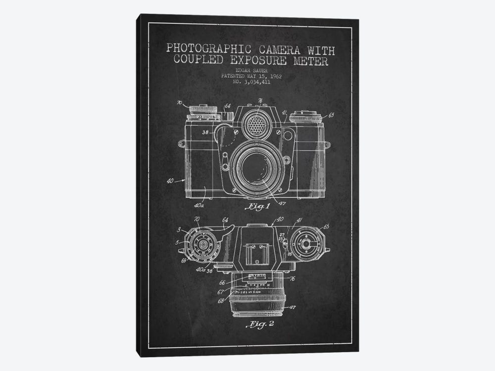 Camera Charcoal Patent Blueprint by Aged Pixel 1-piece Canvas Artwork