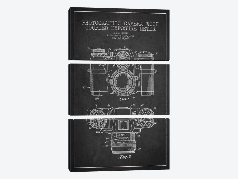 Camera Charcoal Patent Blueprint by Aged Pixel 3-piece Canvas Artwork