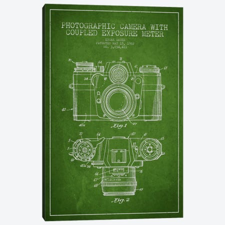Camera Green Patent Blueprint Canvas Print #ADP407} by Aged Pixel Canvas Artwork
