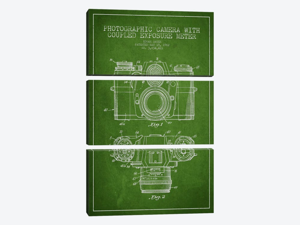 Camera Green Patent Blueprint by Aged Pixel 3-piece Art Print