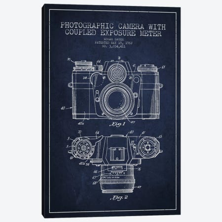 Camera Navy Blue Patent Blueprint Canvas Print #ADP408} by Aged Pixel Canvas Art Print