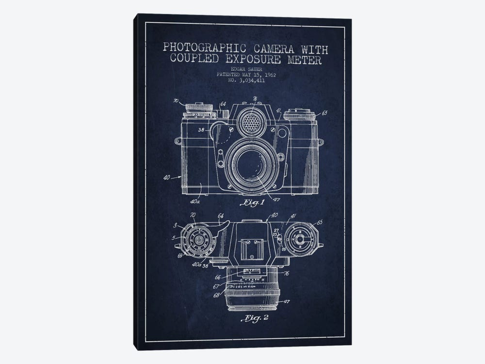 Camera Navy Blue Patent Blueprint by Aged Pixel 1-piece Canvas Artwork