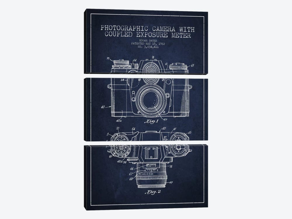 Camera Navy Blue Patent Blueprint by Aged Pixel 3-piece Canvas Art
