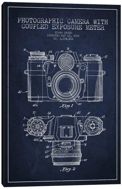 Camera Navy Blue Patent Blueprint Canvas Art Print