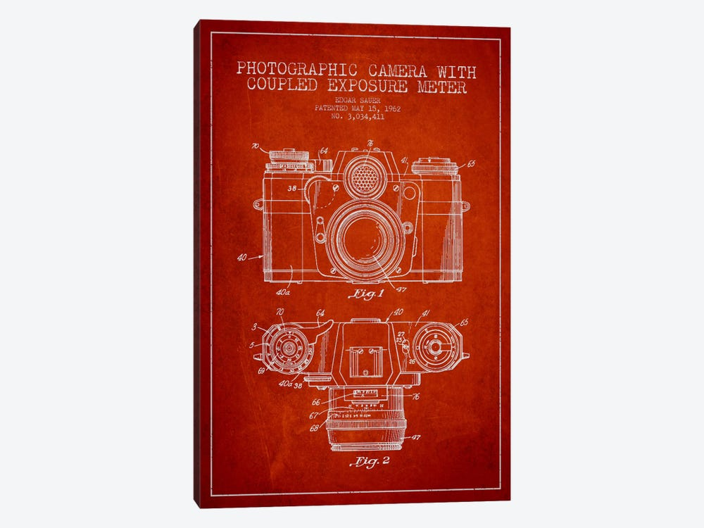 Camera Red Patent Blueprint 1-piece Canvas Print