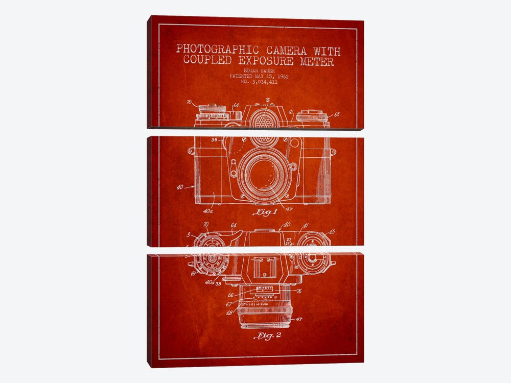 Camera Red Patent Blueprint by Aged Pixel 3-piece Canvas Art Print