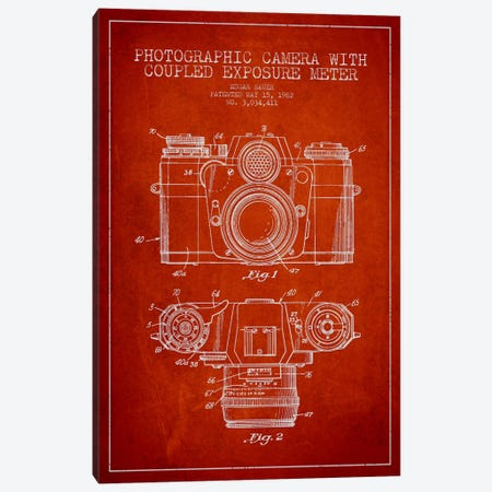 Camera Red Patent Blueprint Canvas Print #ADP409} by Aged Pixel Art Print