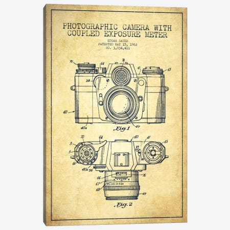 Camera Vintage Patent Blueprint Canvas Print #ADP410} by Aged Pixel Canvas Wall Art