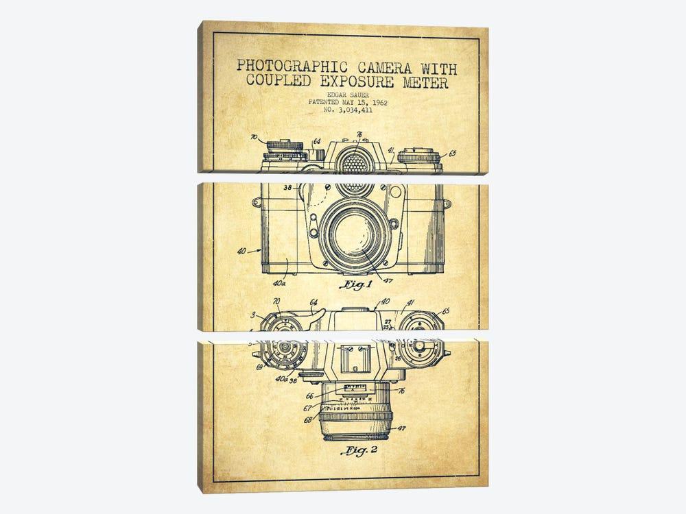 Camera Vintage Patent Blueprint by Aged Pixel 3-piece Art Print
