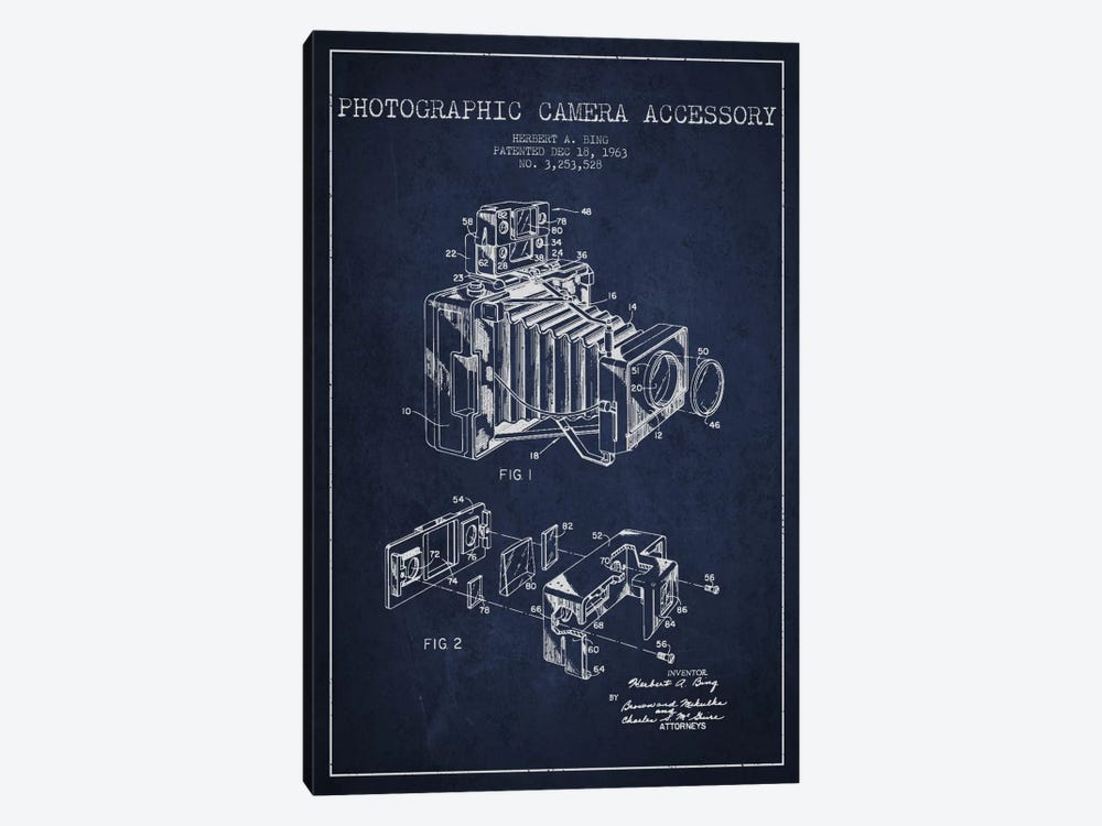 Camera Navy Blue Patent Blueprint by Aged Pixel 1-piece Canvas Art