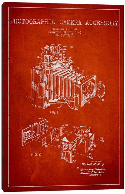 Camera Red Patent Blueprint Canvas Print #ADP414