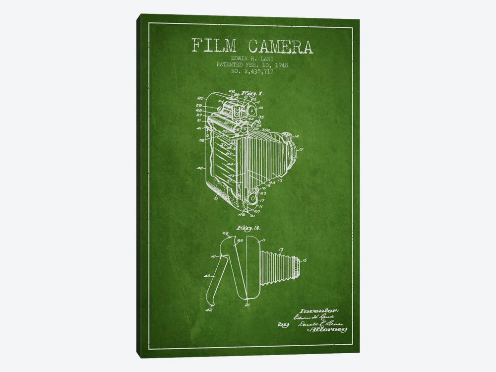 Camera Green Patent Blueprint by Aged Pixel 1-piece Canvas Wall Art