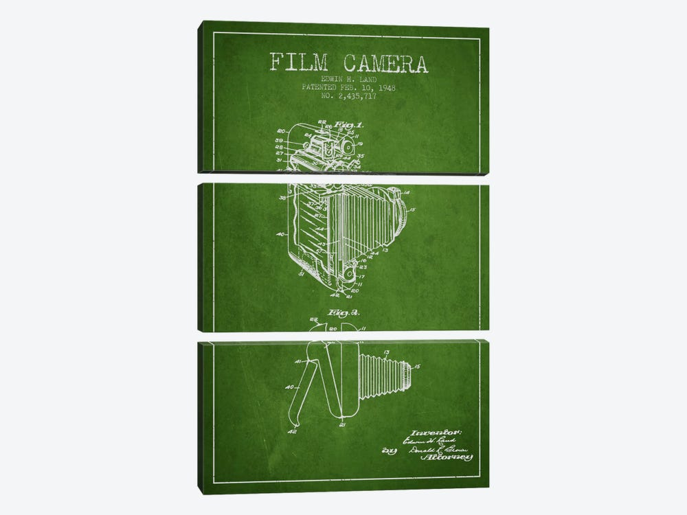 Camera Green Patent Blueprint 3-piece Canvas Art