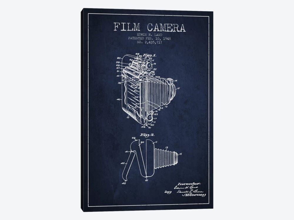 Camera Navy Blue Patent Blueprint by Aged Pixel 1-piece Canvas Print