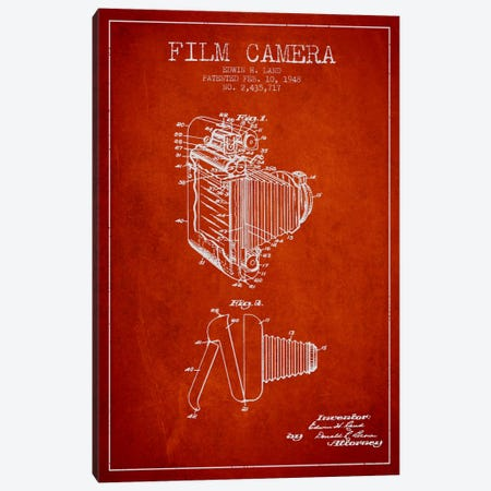 Camera Red Patent Blueprint Canvas Print #ADP419} by Aged Pixel Canvas Art