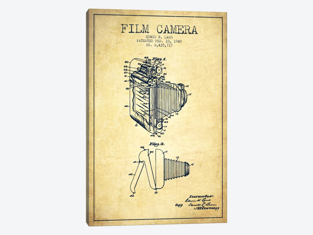 Camera Vintage Patent Blueprint by Aged Pixel 1-piece Canvas Wall Art