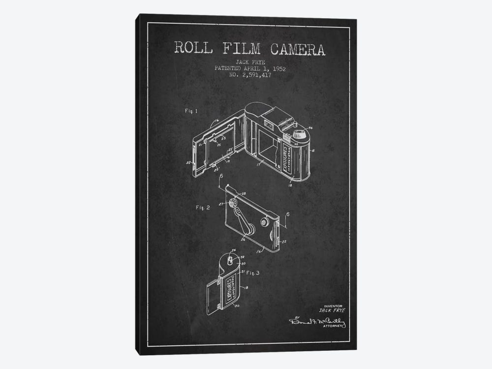 Camera Charcoal Patent Blueprint by Aged Pixel 1-piece Canvas Art Print
