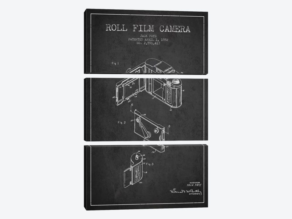 Camera Charcoal Patent Blueprint by Aged Pixel 3-piece Canvas Art Print