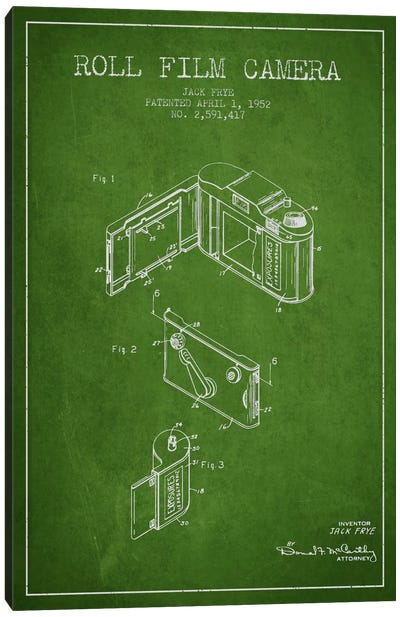 Camera Green Patent Blueprint Canvas Art Print