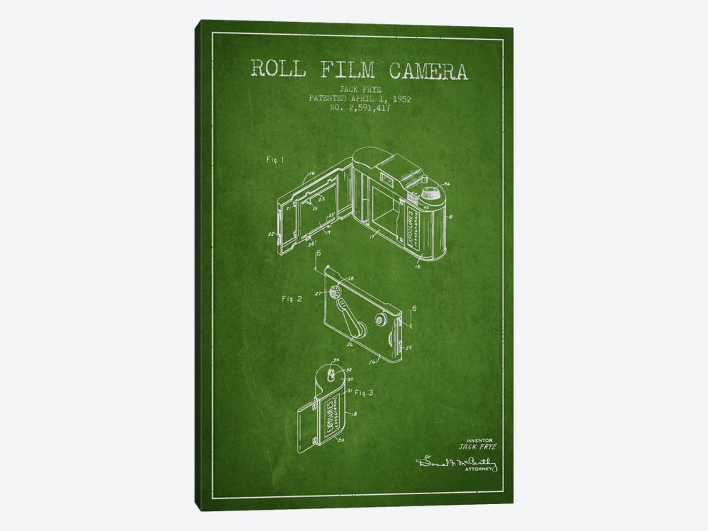 Camera Green Patent Blueprint by Aged Pixel 1-piece Canvas Artwork