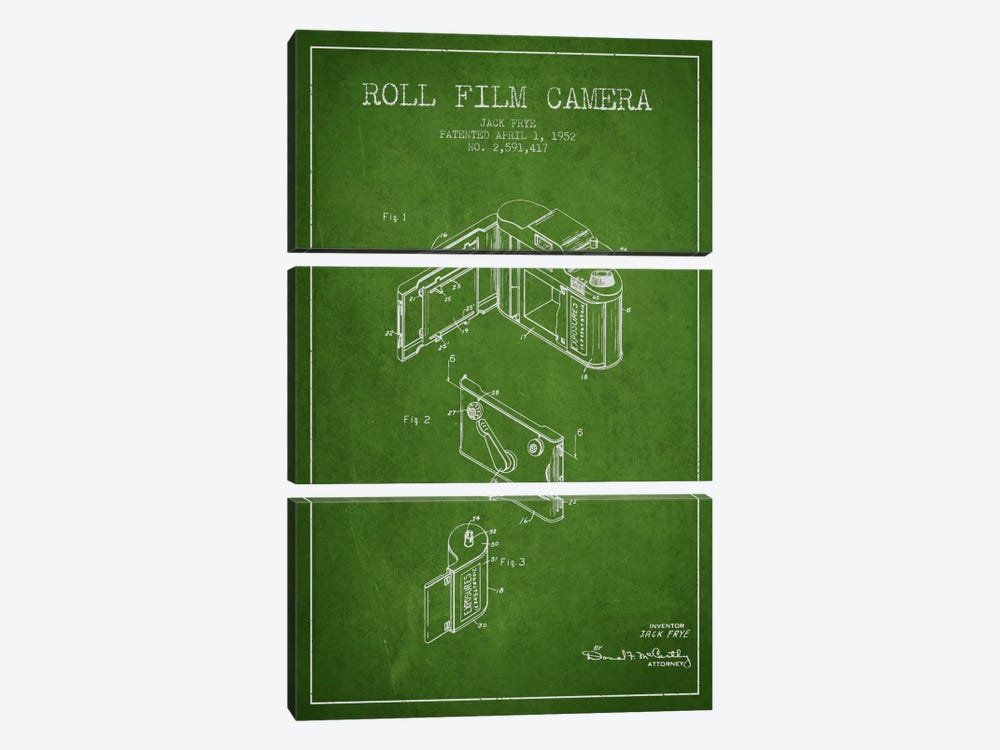 Camera Green Patent Blueprint by Aged Pixel 3-piece Canvas Artwork