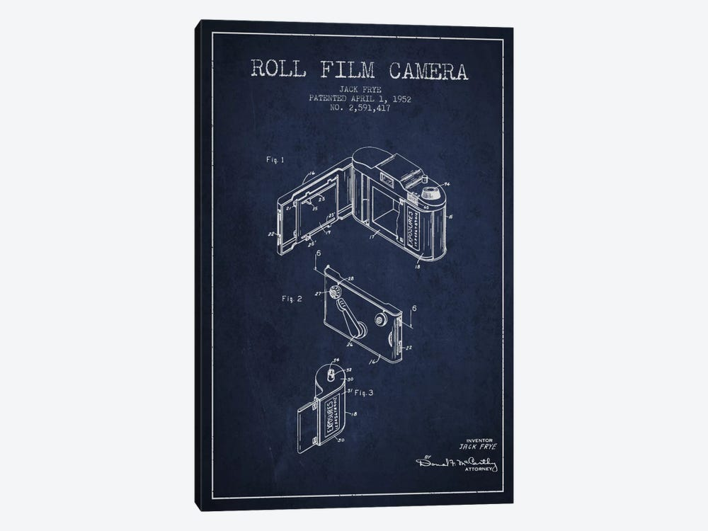 Camera Navy Blue Patent Blueprint by Aged Pixel 1-piece Art Print