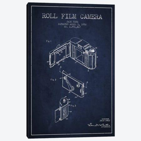 Camera Navy Blue Patent Blueprint Canvas Print #ADP423} by Aged Pixel Canvas Print
