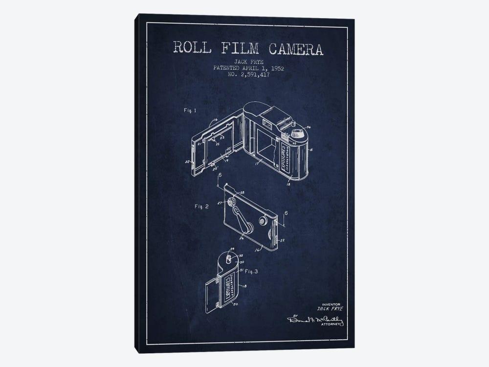 Camera Navy Blue Patent Blueprint by Aged Pixel 1-piece Art Print