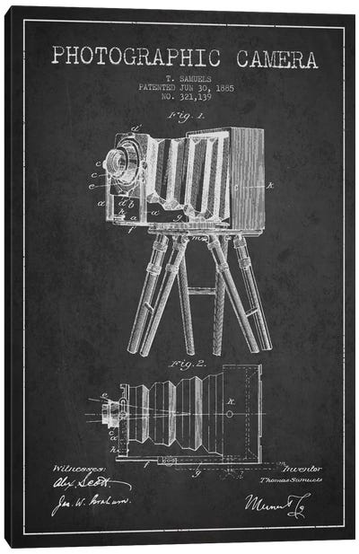 Camera Charcoal Patent Blueprint Canvas Art Print