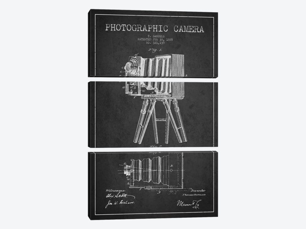 Camera Charcoal Patent Blueprint by Aged Pixel 3-piece Canvas Art