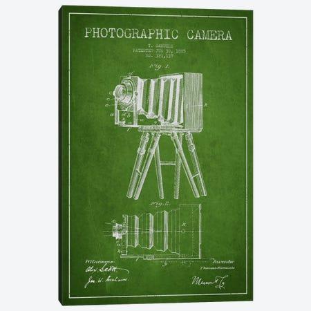 Camera Green Patent Blueprint Canvas Print #ADP427} by Aged Pixel Canvas Artwork