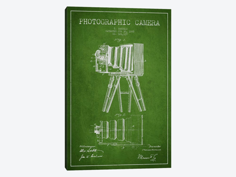 Camera Green Patent Blueprint by Aged Pixel 1-piece Art Print