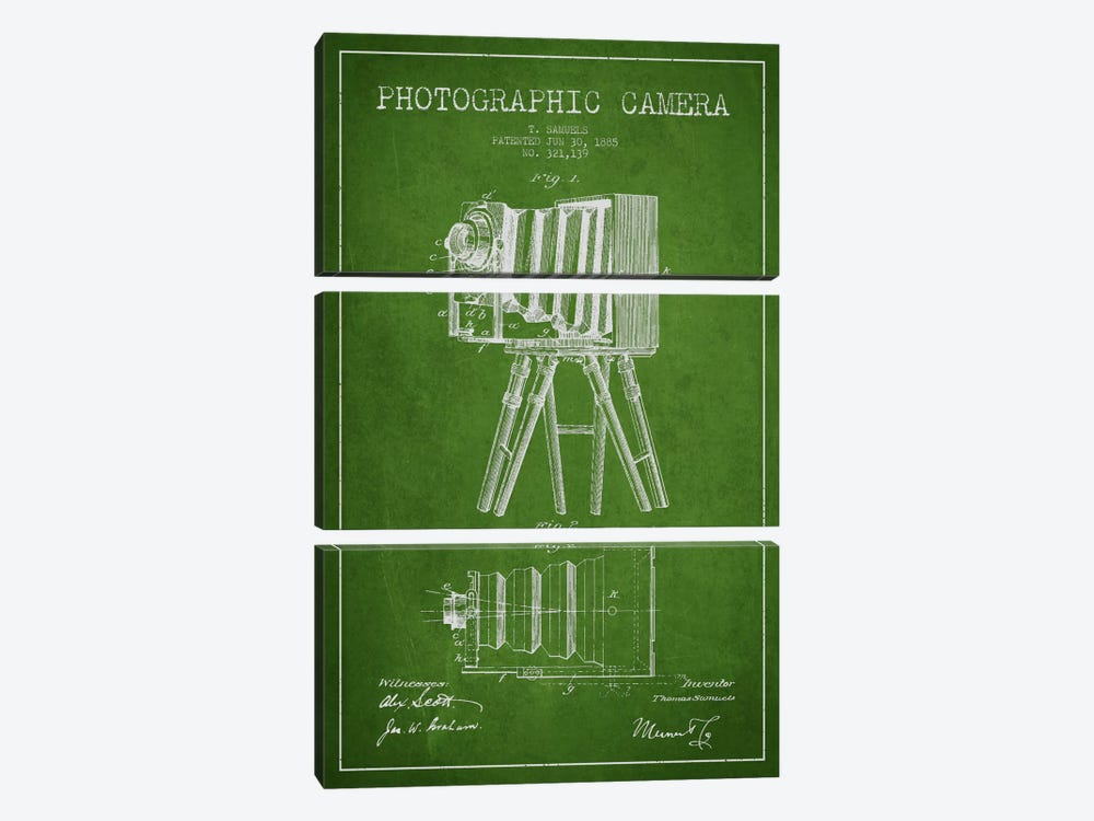 Camera Green Patent Blueprint by Aged Pixel 3-piece Canvas Print