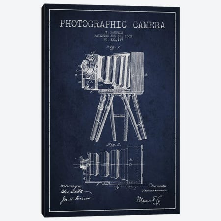 Camera Navy Blue Patent Blueprint Canvas Print #ADP428} by Aged Pixel Art Print