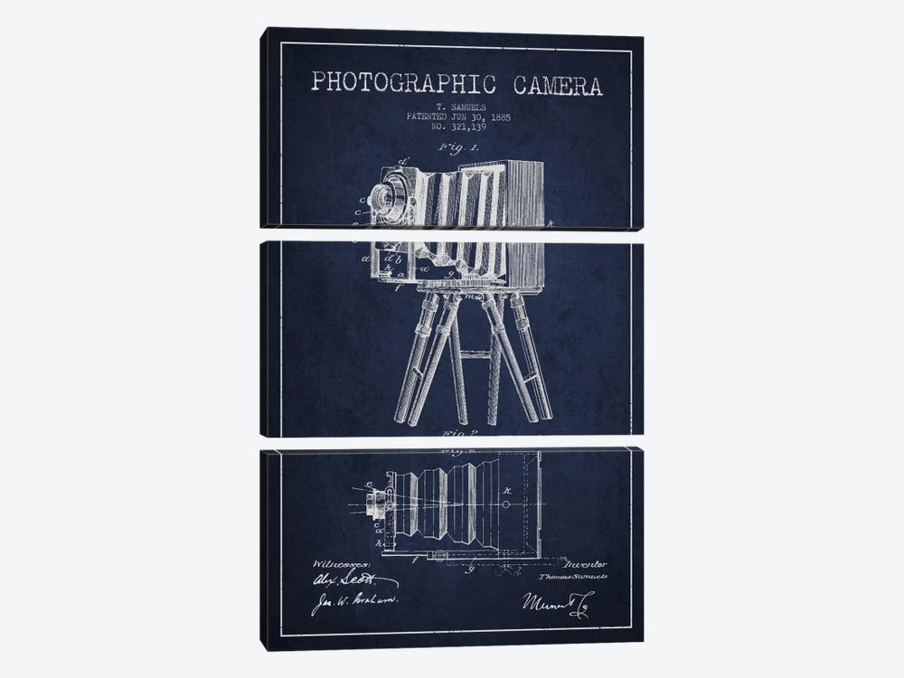 Camera Navy Blue Patent Blueprint by Aged Pixel 3-piece Canvas Artwork