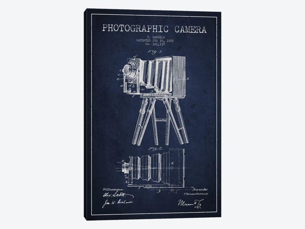 Camera Navy Blue Patent Blueprint by Aged Pixel 1-piece Canvas Artwork