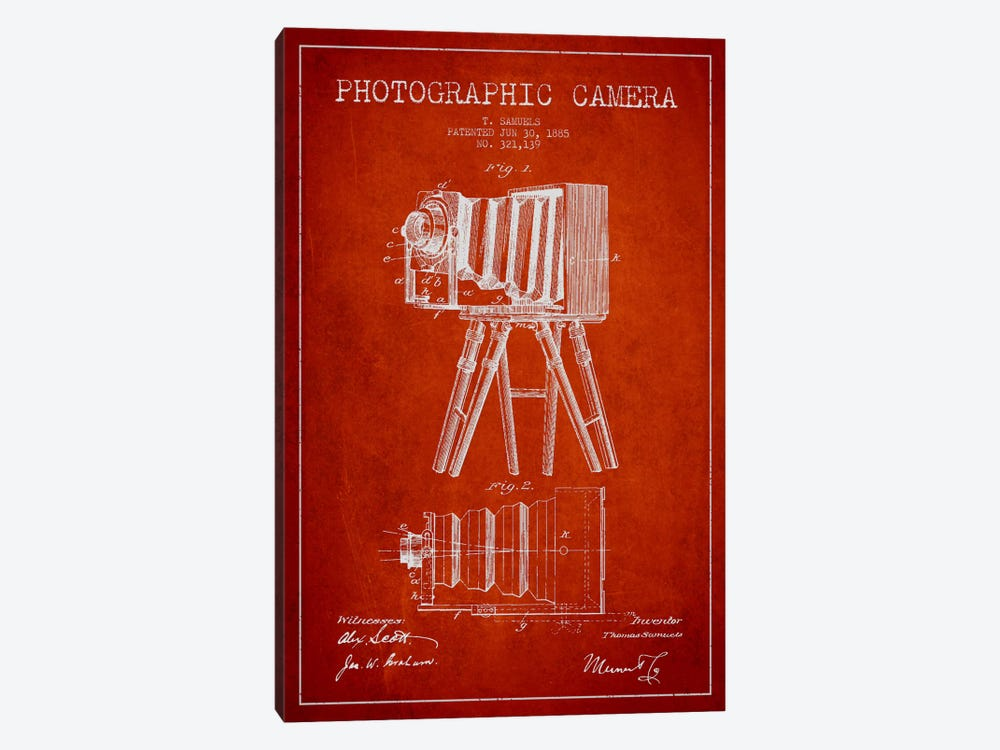 Camera Red Patent Blueprint by Aged Pixel 1-piece Art Print