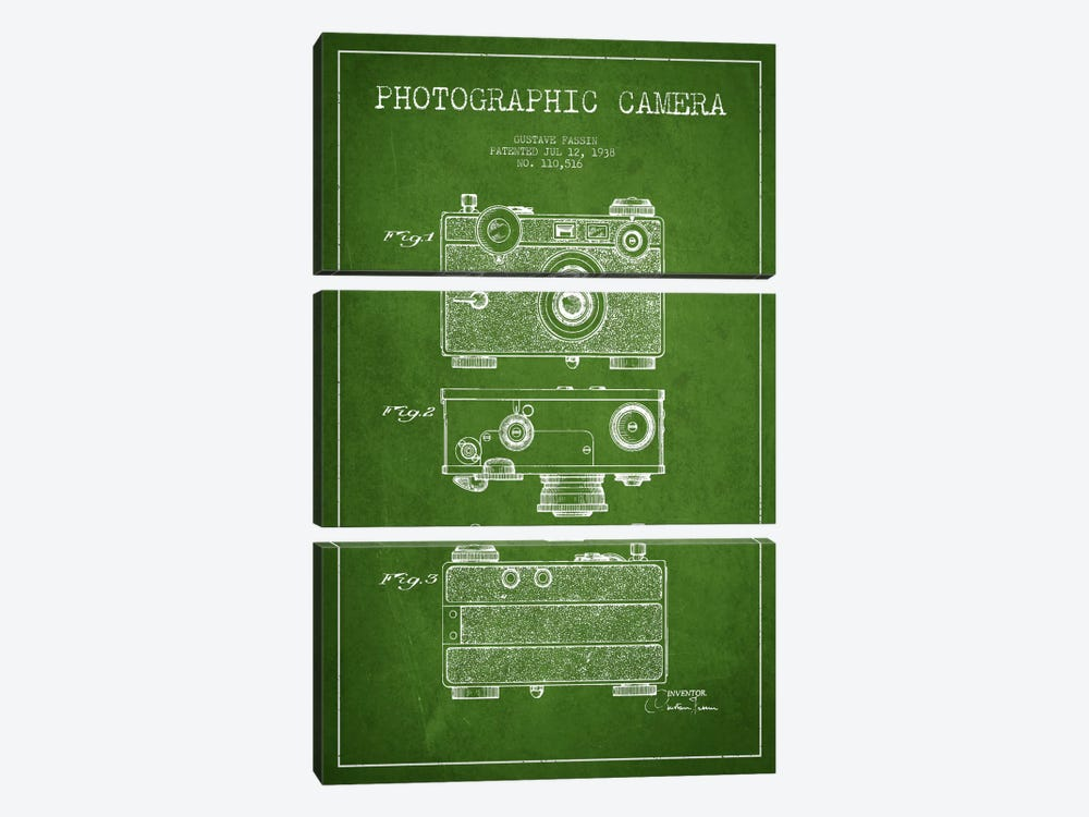 Camera Green Patent Blueprint by Aged Pixel 3-piece Canvas Art Print