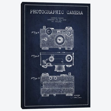 Camera Navy Blue Patent Blueprint Canvas Print #ADP433} by Aged Pixel Canvas Art