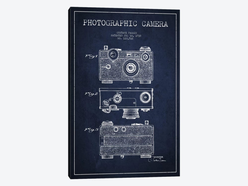 Camera Navy Blue Patent Blueprint by Aged Pixel 1-piece Canvas Art