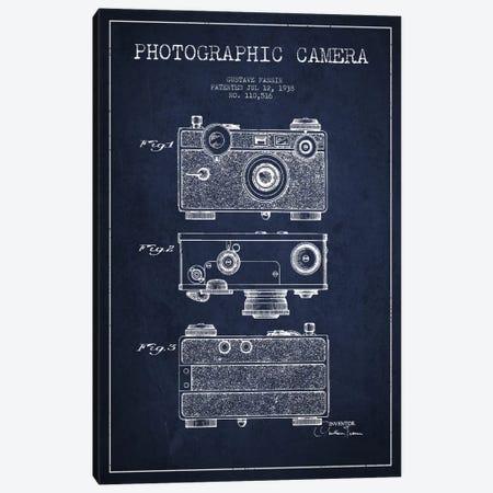 Camera Navy Blue Patent Blueprint Canvas Print #ADP433} by Aged Pixel Canvas Art