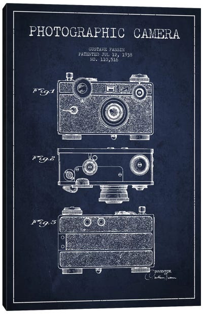 Camera Navy Blue Patent Blueprint Canvas Art Print