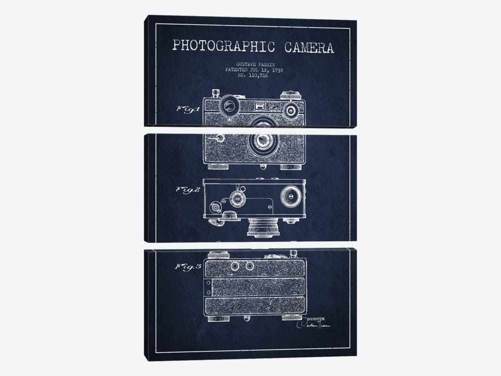 Camera Navy Blue Patent Blueprint by Aged Pixel 3-piece Canvas Art