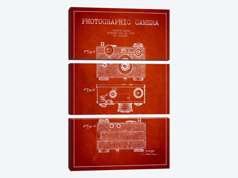 Camera Red Patent Blueprint by Aged Pixel 3-piece Art Print