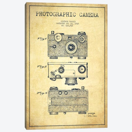 Camera Vintage Patent Blueprint Canvas Print #ADP435} by Aged Pixel Canvas Print
