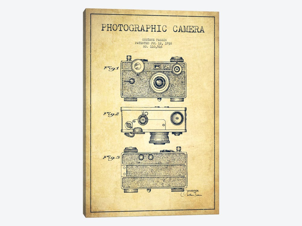 Camera Vintage Patent Blueprint by Aged Pixel 1-piece Canvas Artwork
