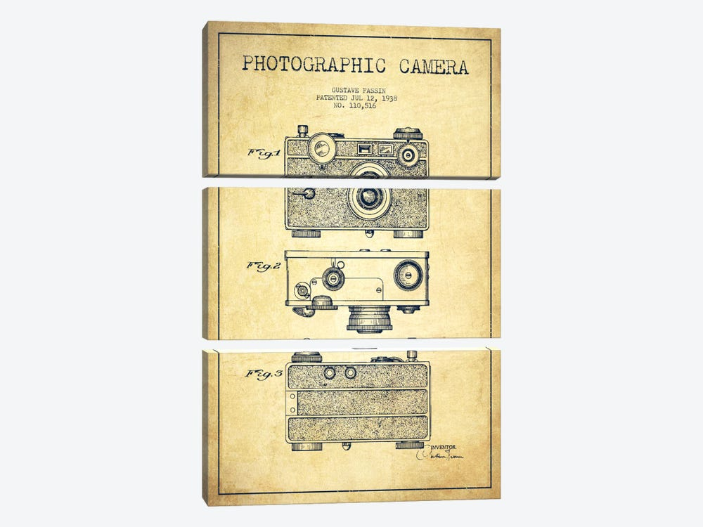 Camera Vintage Patent Blueprint by Aged Pixel 3-piece Canvas Wall Art