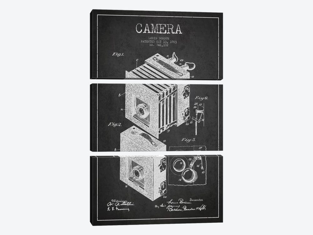 Camera Charcoal Patent Blueprint by Aged Pixel 3-piece Canvas Print