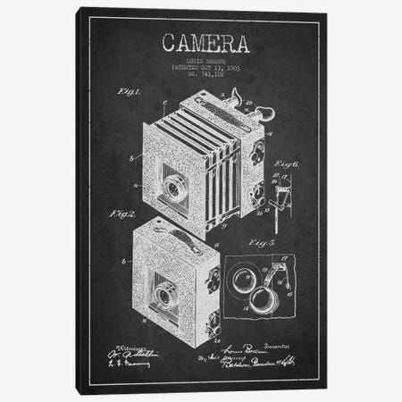 Camera Charcoal Patent Blueprint Canvas Print #ADP441} by Aged Pixel Art Print